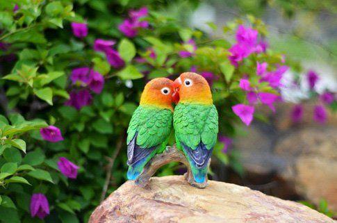 Hi-Line Gift Ltd. Parrots on Branch Garden Statue - 87758-C