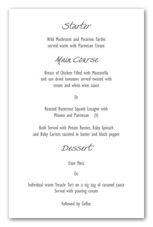Wedding Invitation Wording Menu Layout Example Contemporary