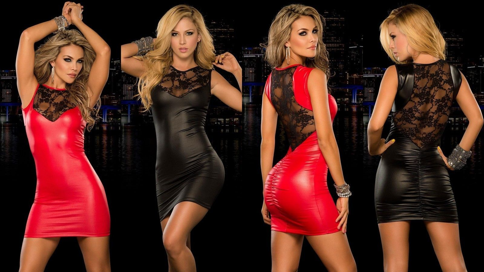 5ab4671b6bf SEXY BLACK RED WETLOOK FAUX LATEX VINYL CLUB WEAR BODY CON DRESS WITH LACE  BACK