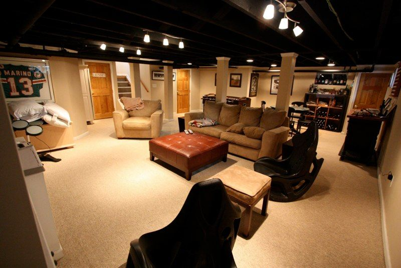 Exposed Ceiling Painted Black With Nice Lights Basement Lighting Low Ceiling Basement Ceiling Ideas Cheap
