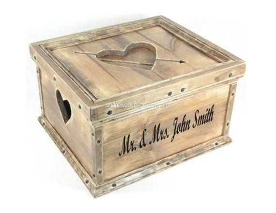 Wedding Card Box Custom Personalized Wood Hope Chest Wooden Keepsake Memory Box