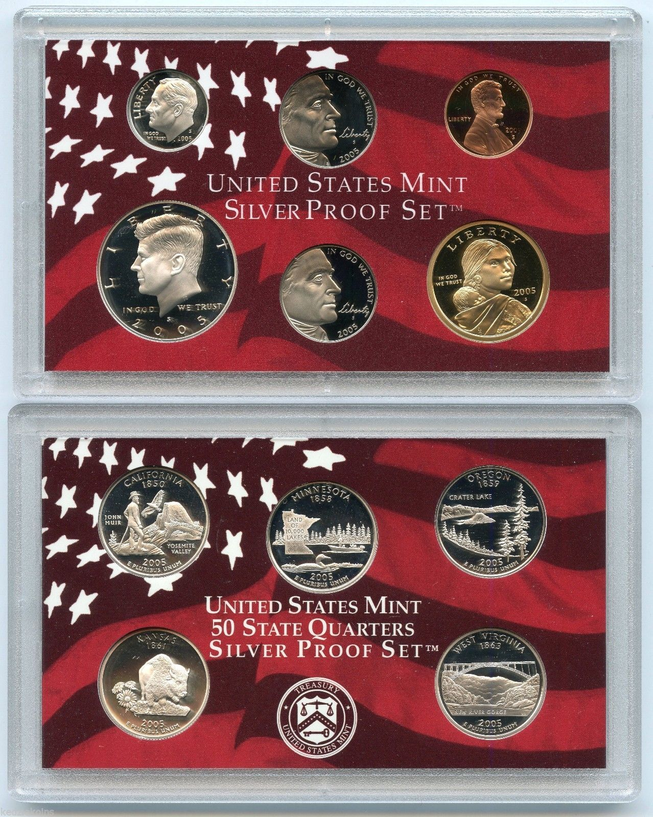 2004 S Proof State Quarter Set w//Box /& COA 5 Coins CN-Clad US Mint
