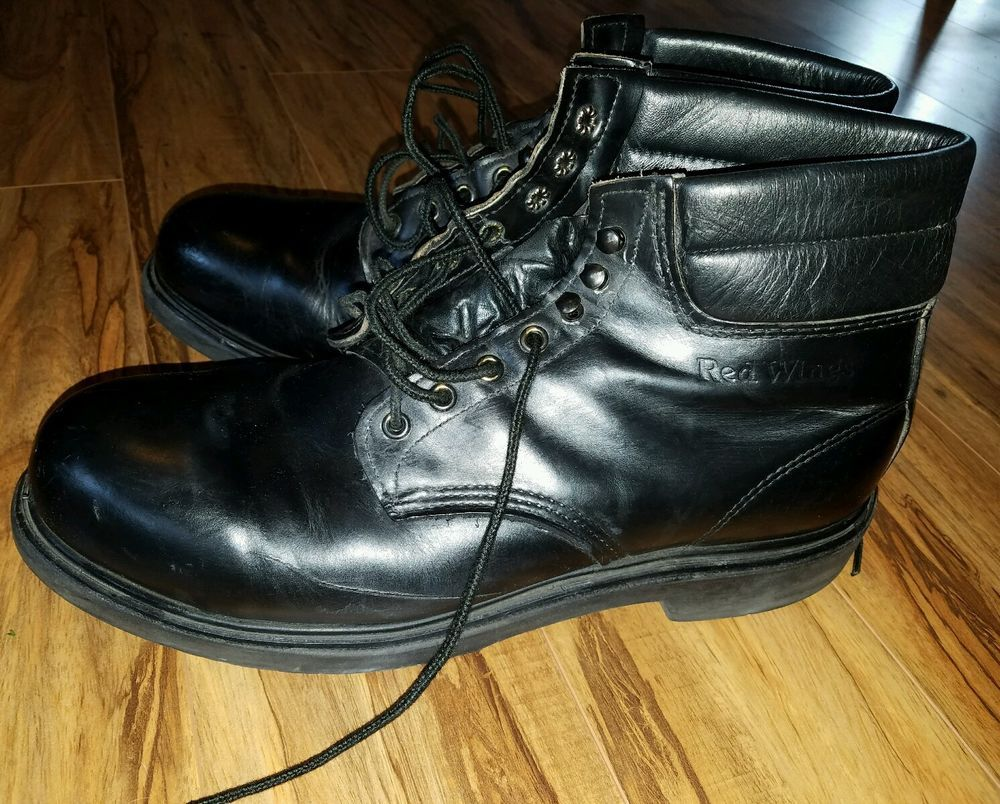 Red Wing Black Steel Toe Work Boots 12D