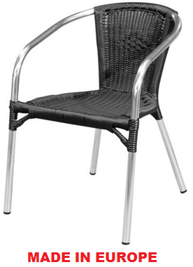 Restaurant Chairs   Cello Rattan Chair Is Made In Europe. It Is Wire  Reinforced PVC Wicker With Fully Welded Polished Aluminium.