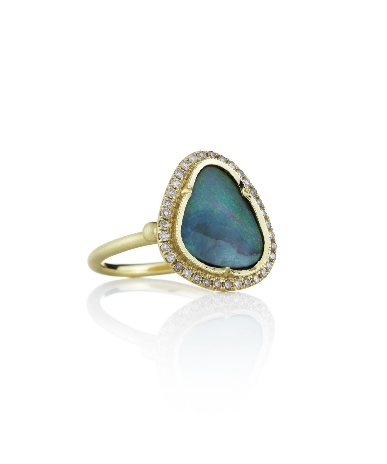 Our Heroine is Mysterious as the Sea - Boulder Opal & Pave Diamond Triangle Ring, Brooke Gregson. Collection online at Liberty.co.uk
