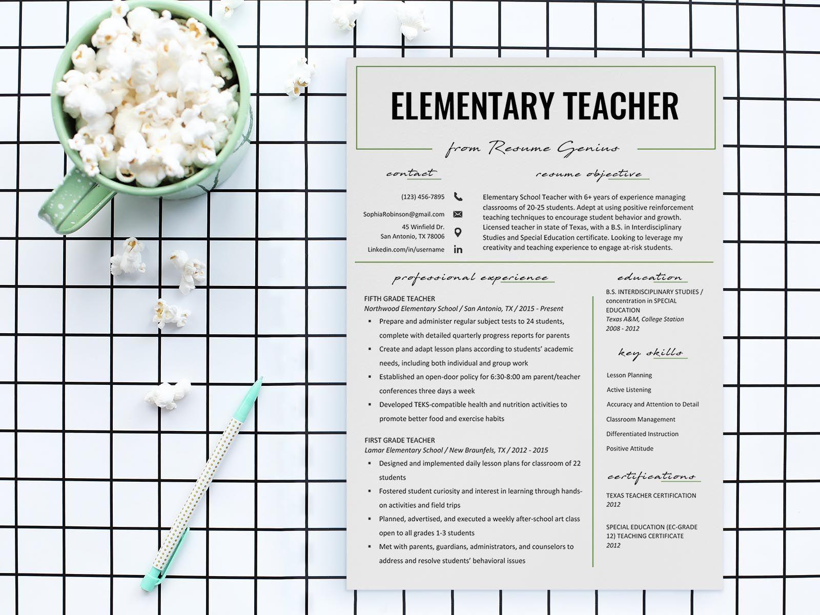 Free Elementary Teacher Resume Template in 2020 Teacher