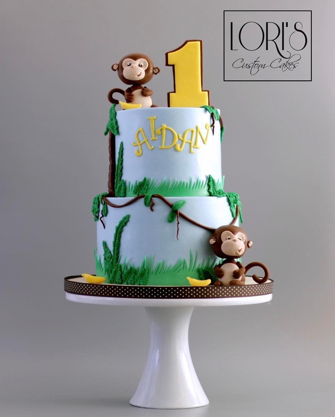 Remarkable 1St Birthday Boy Monkey Birthday Cakes Boys 1St Birthday Cake Personalised Birthday Cards Veneteletsinfo