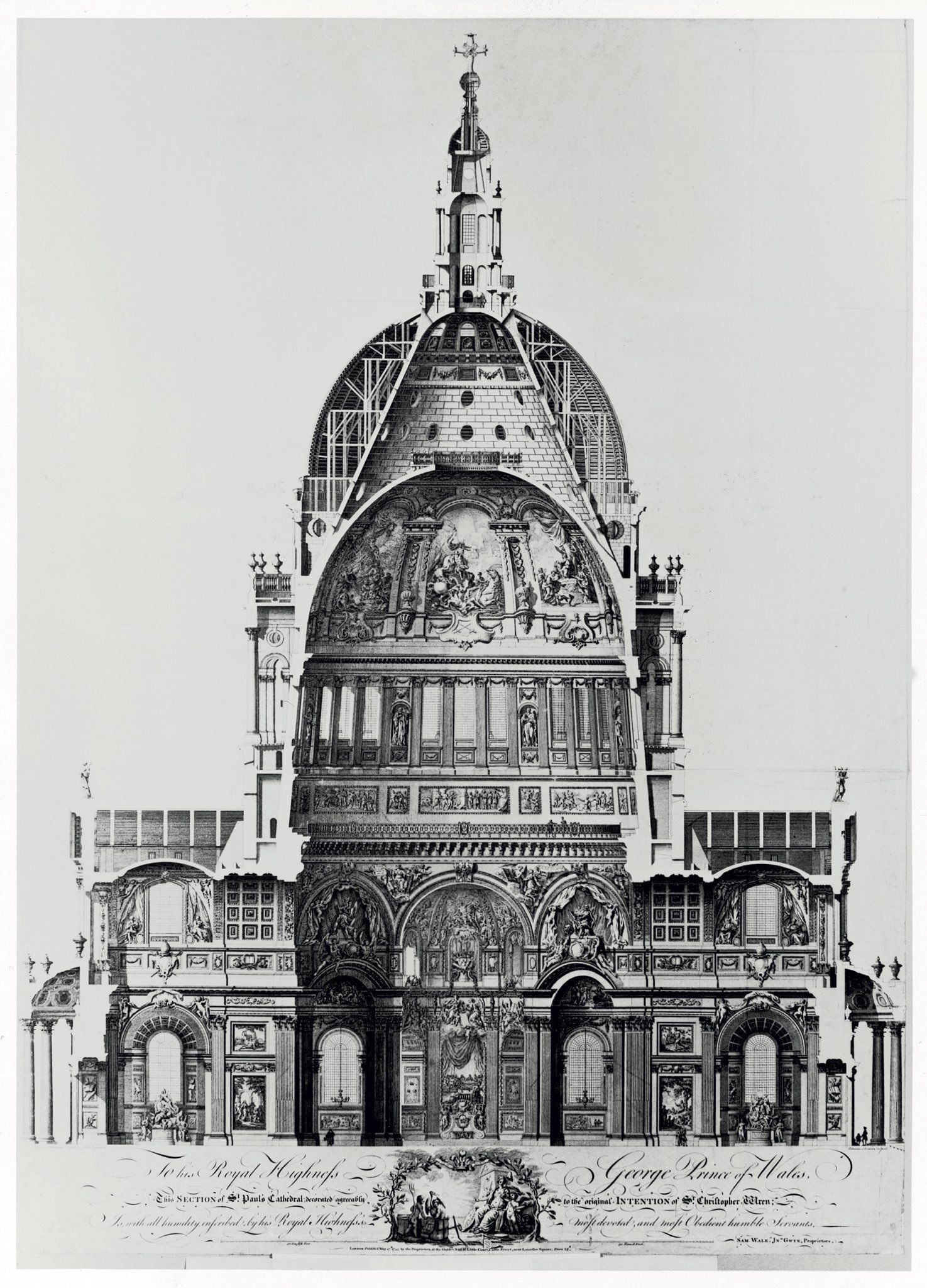 Cross section of St Paul s Cathedral London LONDON
