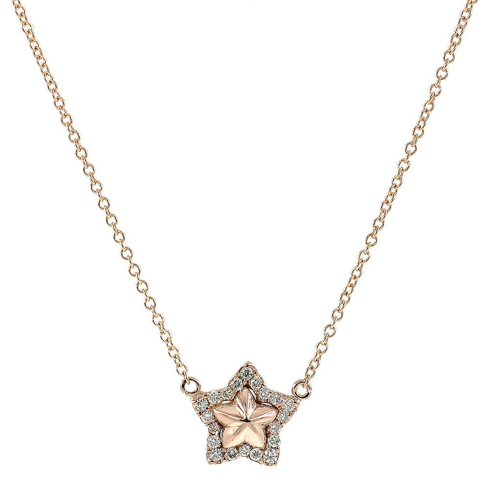 Star NecklaceDiamond NecklaceYellow Gold Necklace Rose Gold