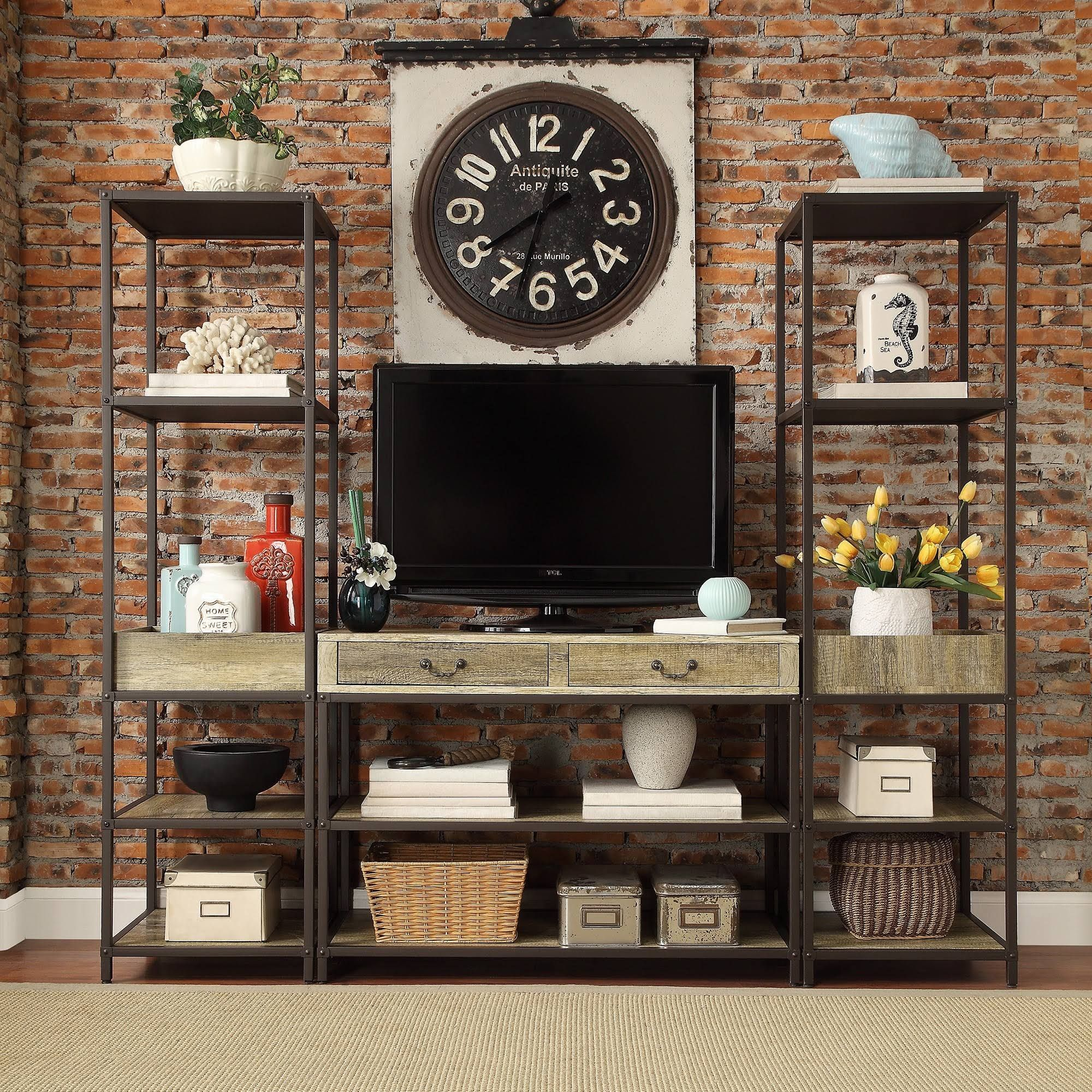Tribecca Home Sadie Industrial Rustic Open Shelf Media