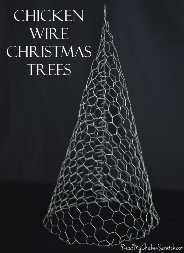 Chicken Wire Christmas Trees Could Paint White Sparkly