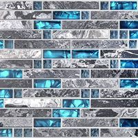 Big Blue Glass tile Perfect for Kitchen Backsplashes and showers, Sample images