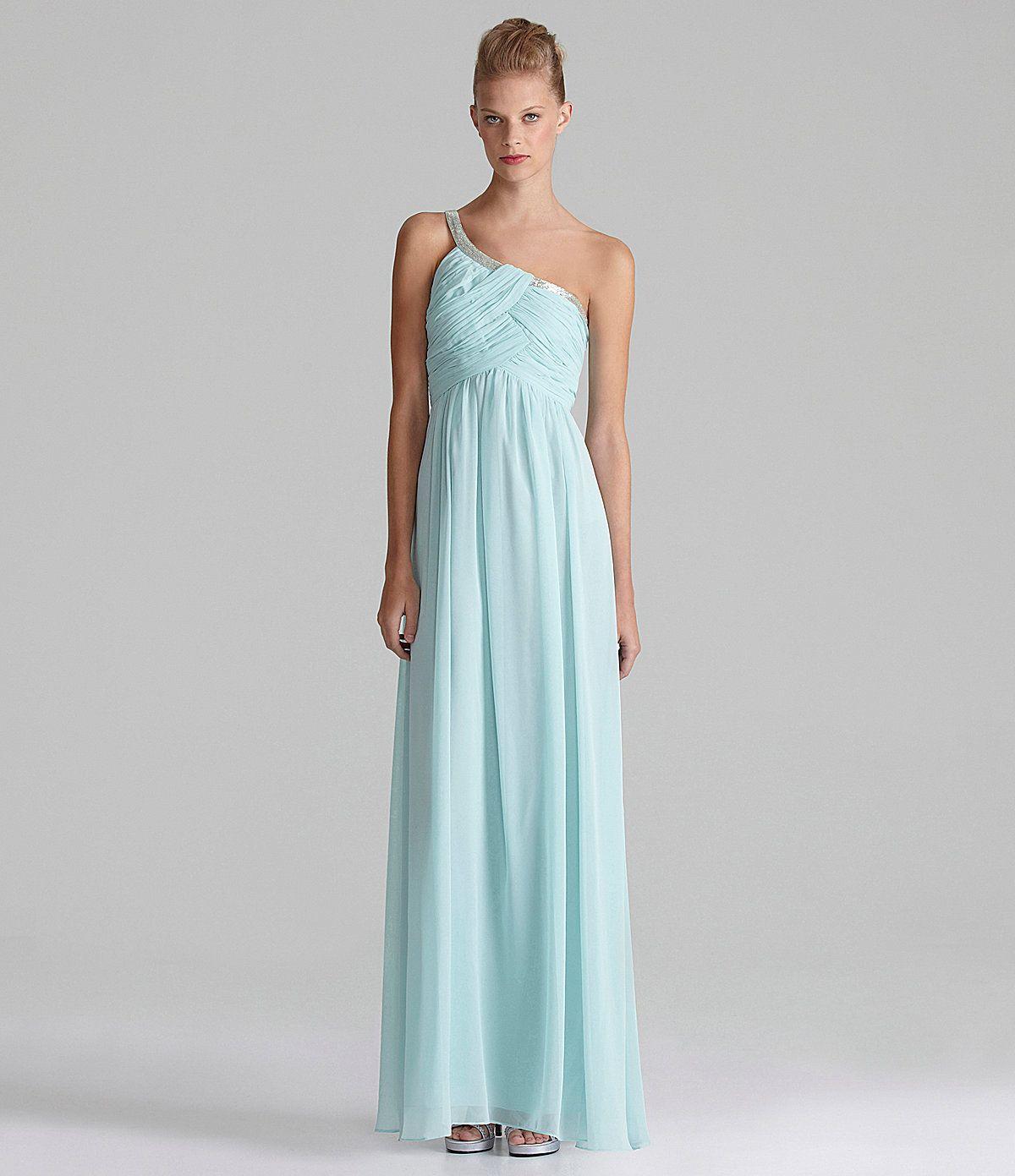 Calvin Klein One-Shoulder Chiffon Gown | Dillards.com | Fashion ...