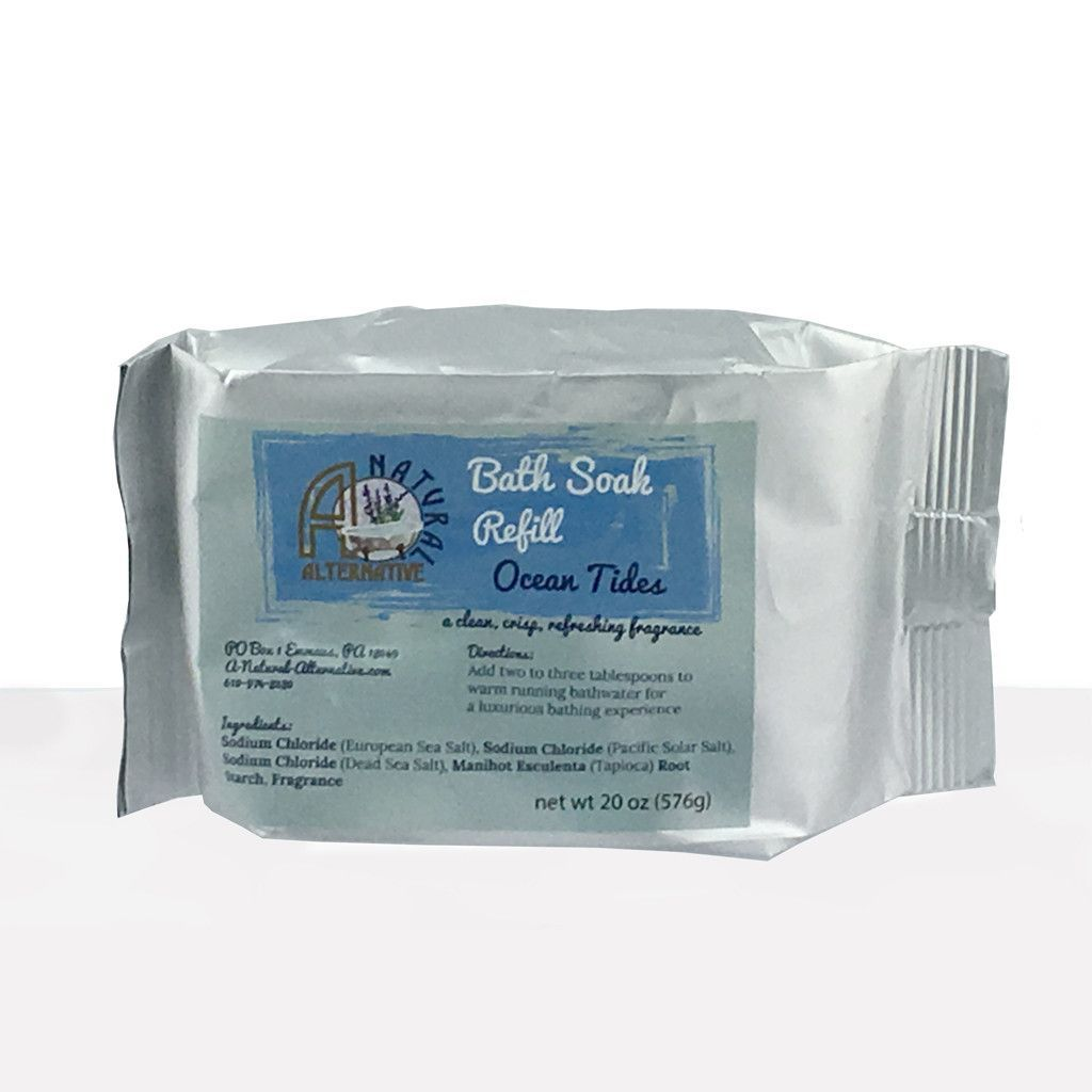 Ocean Tides Bath Soak 20oz Refill: A clean, crisp, refreshing, watery fragrance Ingredients: Sodium Chloride (European Sea Salt), Sodium Chloride (Pacific Solar Salt), Sodium Chloride (Dead Sea Salt), Manihot Esculenta (Tapioca) Root Starch, Fragrance.  Additional Information: My bath soaks are a prefect blend of three kinds of salt from all over the world. This combination gives you a broad spectrum of mineral content for a well-rounded bath product.