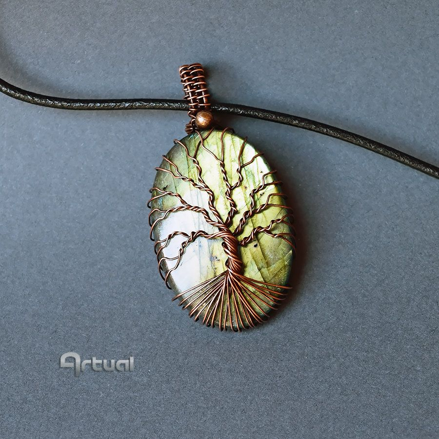 Copper Wire Wrapped Labradorite Tree Of Life Pendant Necklace
