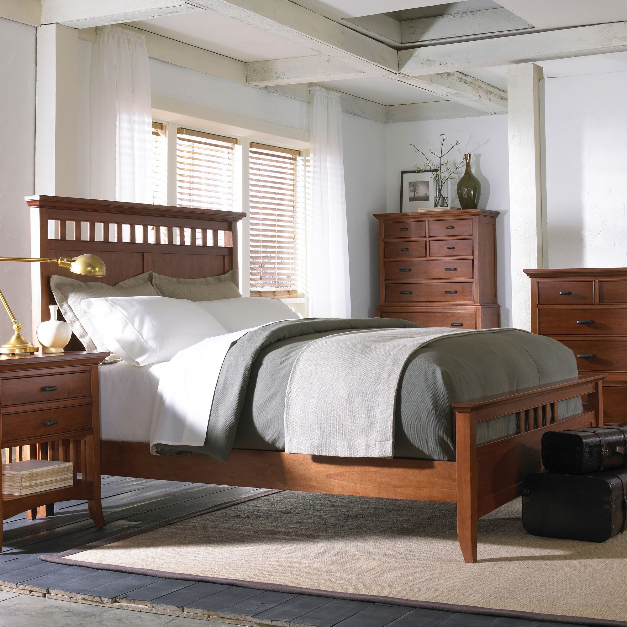 Cresent Fine Furniture Modern Shaker 4 Piece Slat Panel Bedroom Set In  Cherry