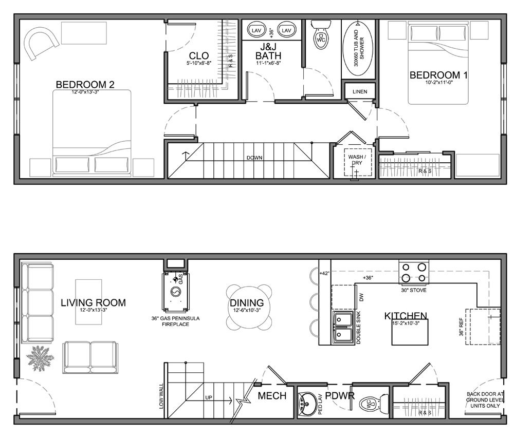 Apartment unit plans residential units are 20 wide or for Narrow apartment plans