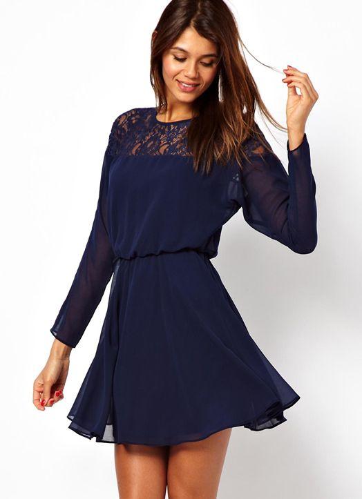 Kleid langarm spitze blau - Beliebte kurze kleider