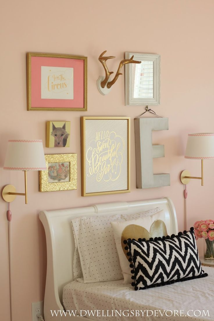 Girls bedroom gallery wall- beautiful pink and gold girls room. love ...