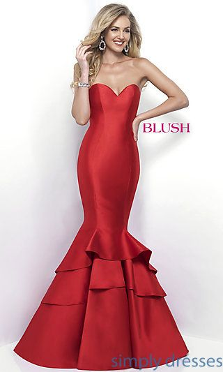 3adff8e7ba2 Shop Blush strapless long prom dresses at Simply Dresses. Long formal  evening gowns with sweetheart necklines and layered mermaid skirts.