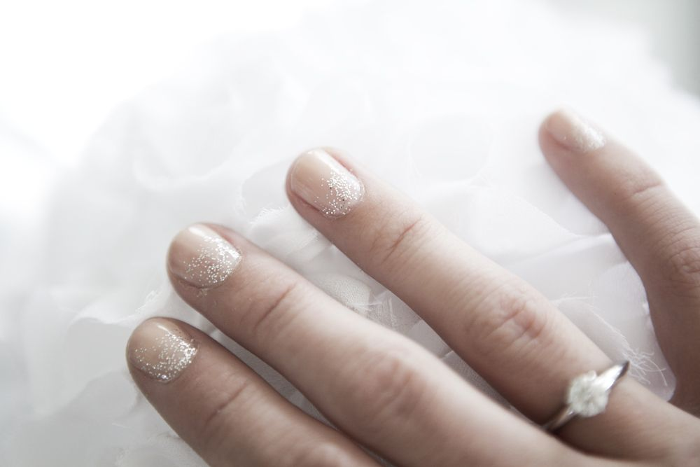 Bridal manicure - Essie Naked Truth and silver glitter