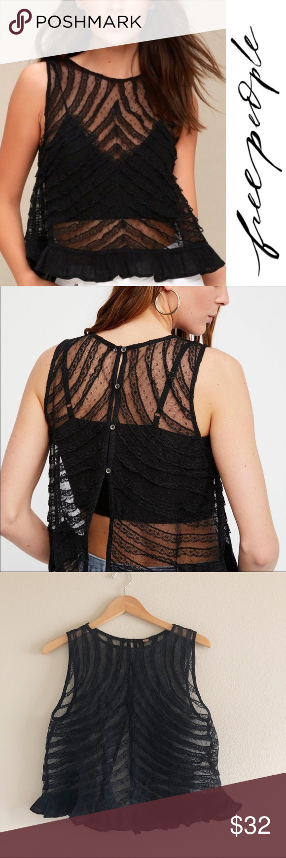 244ed3bc9a2 Free People She s A Doll Black Lace Mesh Tank Top Free People She s A Doll  Black