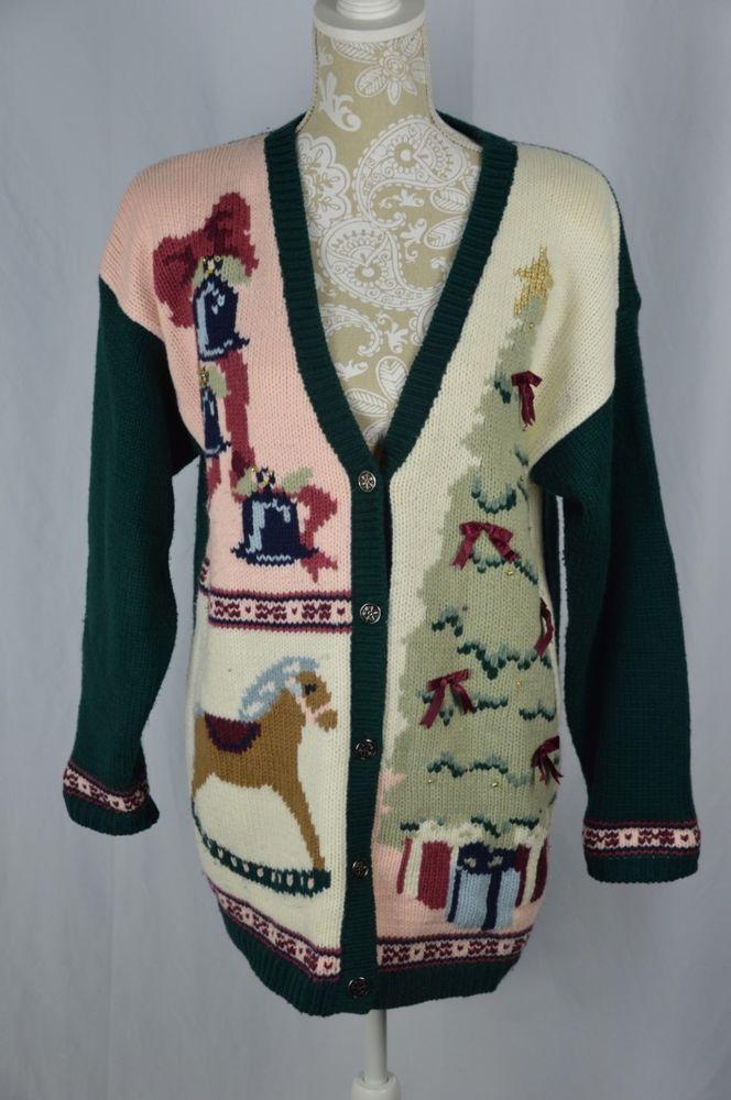 Karen Scott Womens Medium Deep V-Neck Christmas Sweater Tree Rocking Horse Bells #KarenScott #Cardigan