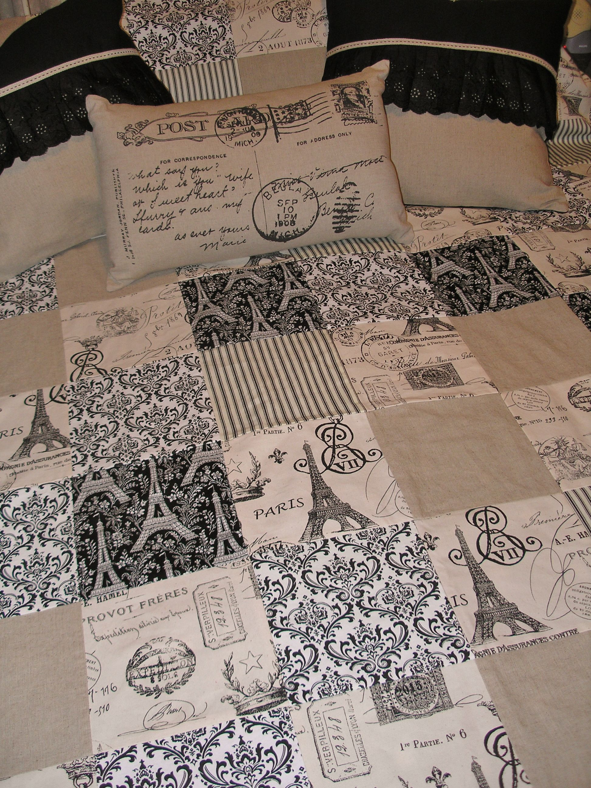 french paris quilt & cushion set , oatmeal & black. This will be ... : theme quilts - Adamdwight.com