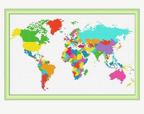 World map cross stitch pattern cross stitch continent atlas world map cross stitch pattern cross stitch continent atlas cross stitch embroidery pdf instant download gumiabroncs Gallery