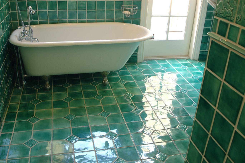 wonderfully glossy aquamarine floor and wall tiles