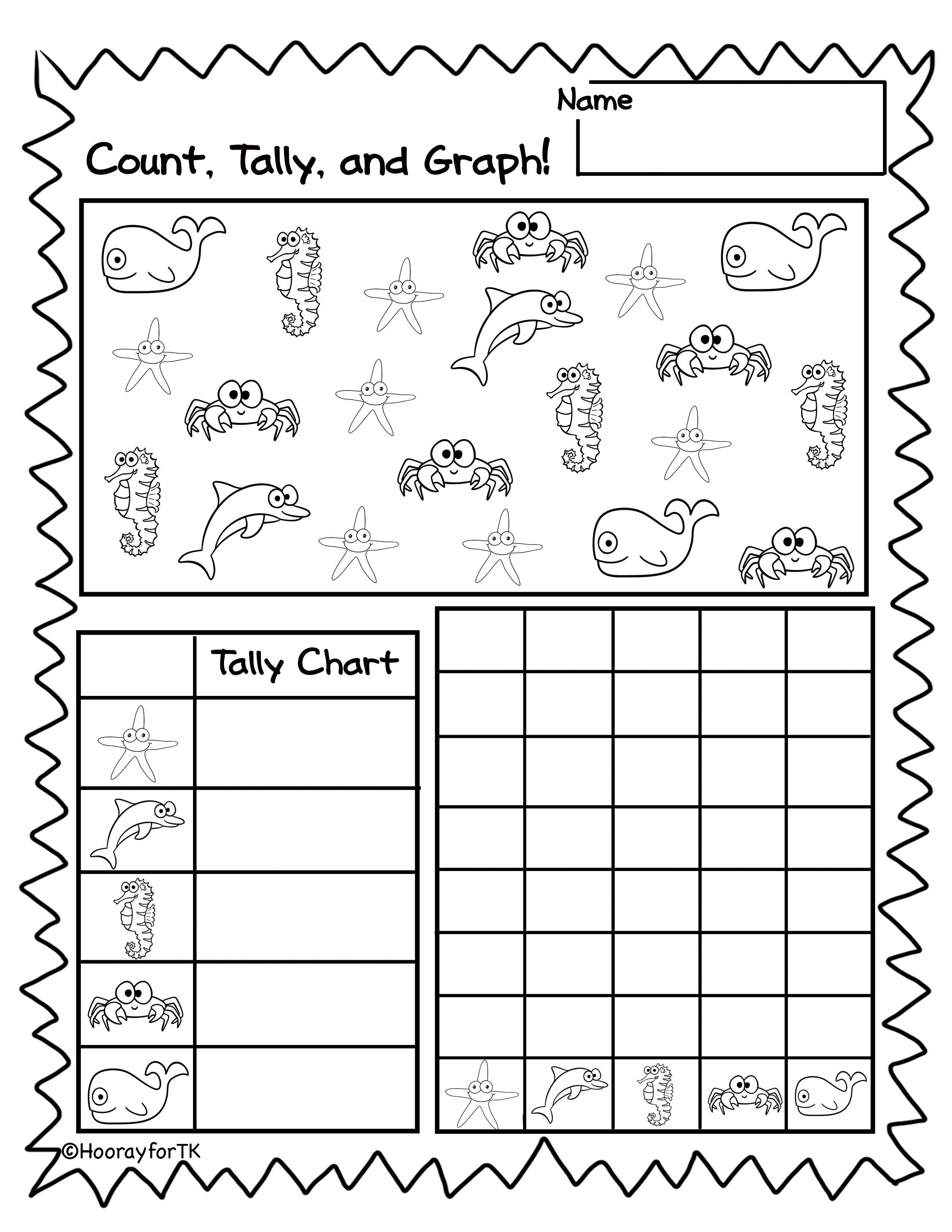 Ocean/Under the Sea math activity. Perfect for Pre-K/ Preschool [ 3300 x 2550 Pixel ]