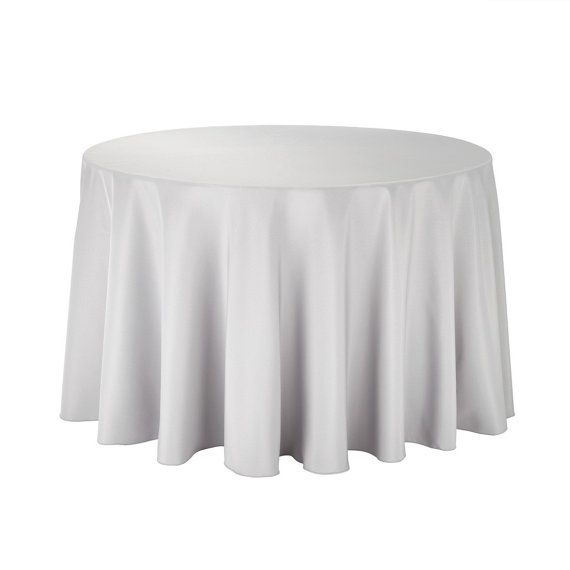 108 Inch Round Silver Tablecloth Polyester Wedding Etsy Table Cloth White Table Cloth Round Tablecloth