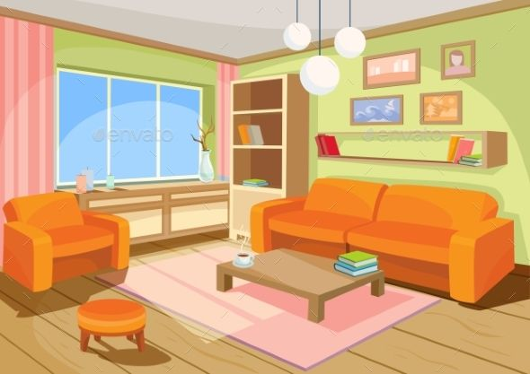 Vector Illustration Of A Cozy Cartoon Interior Anime Backgrounds Wallpapers House Rooms Living Room Background