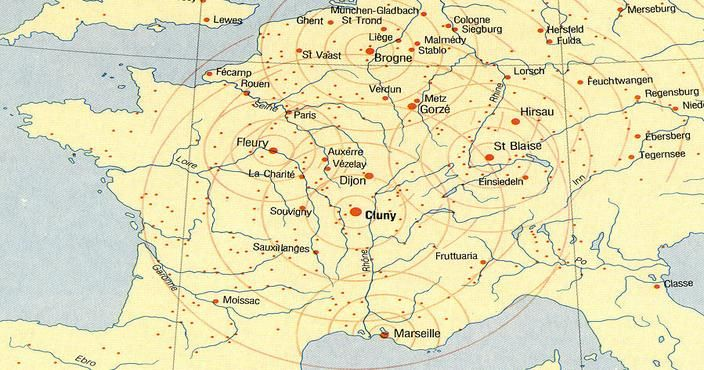 Cluny France Map.Romanesque Architecture France Map Of Cluniac Monasteries Cluny