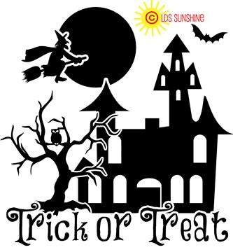 Halloween Trick Or Treat House Wmoon Cute Halloween Design - Halloween vinyl decals for glass blocks