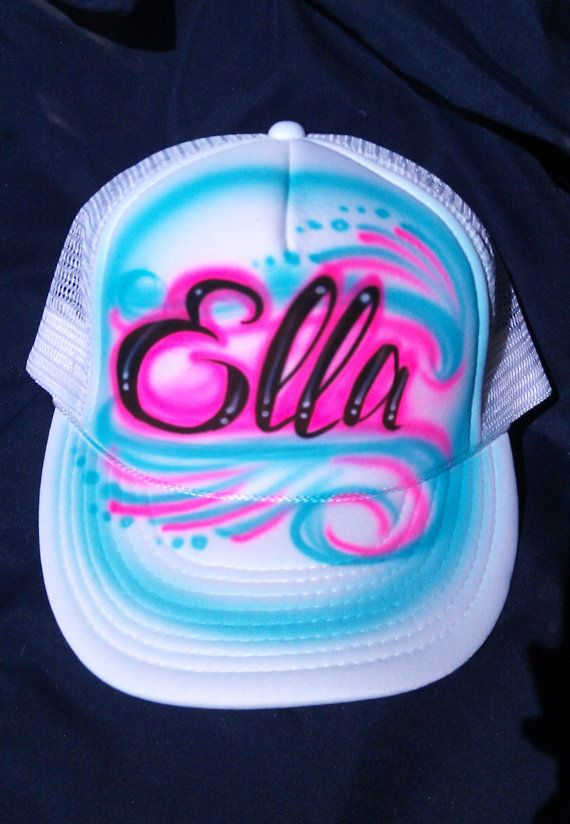 Airbrushed Custom Trucker Hat With your Name by TheDeQorator ... 24bd4fb8865