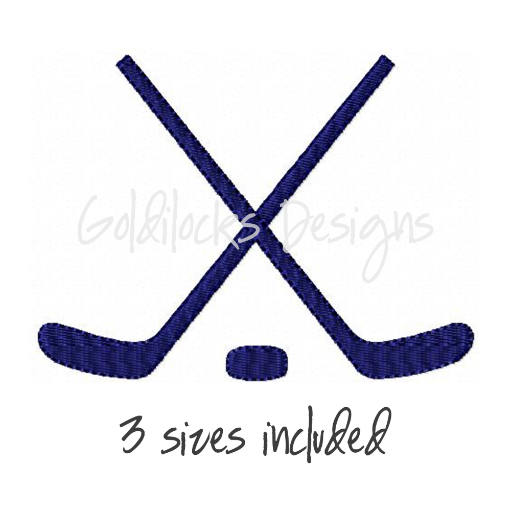 Hockey Sticks And Puck Embroidery Design In 3 Sizes For Embroidery Machine Digital File Embroidery Designs Machine Embroidery Machine Embroidery Patterns