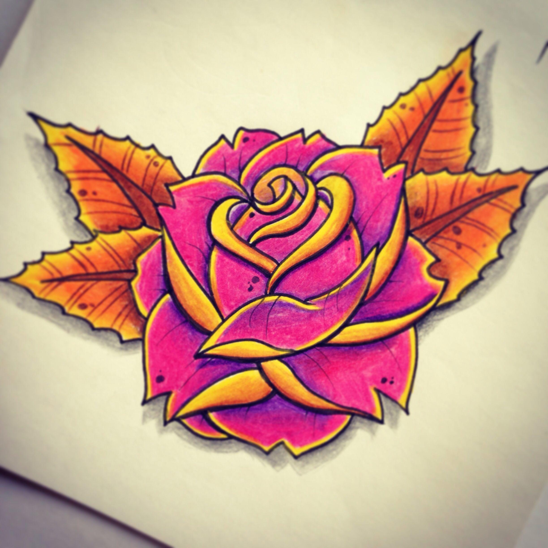 cartoon rose tattoo design by sj lant