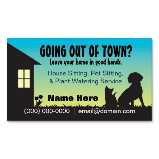 House Pet Sitting Plant Watering Business Card Pet Sitting
