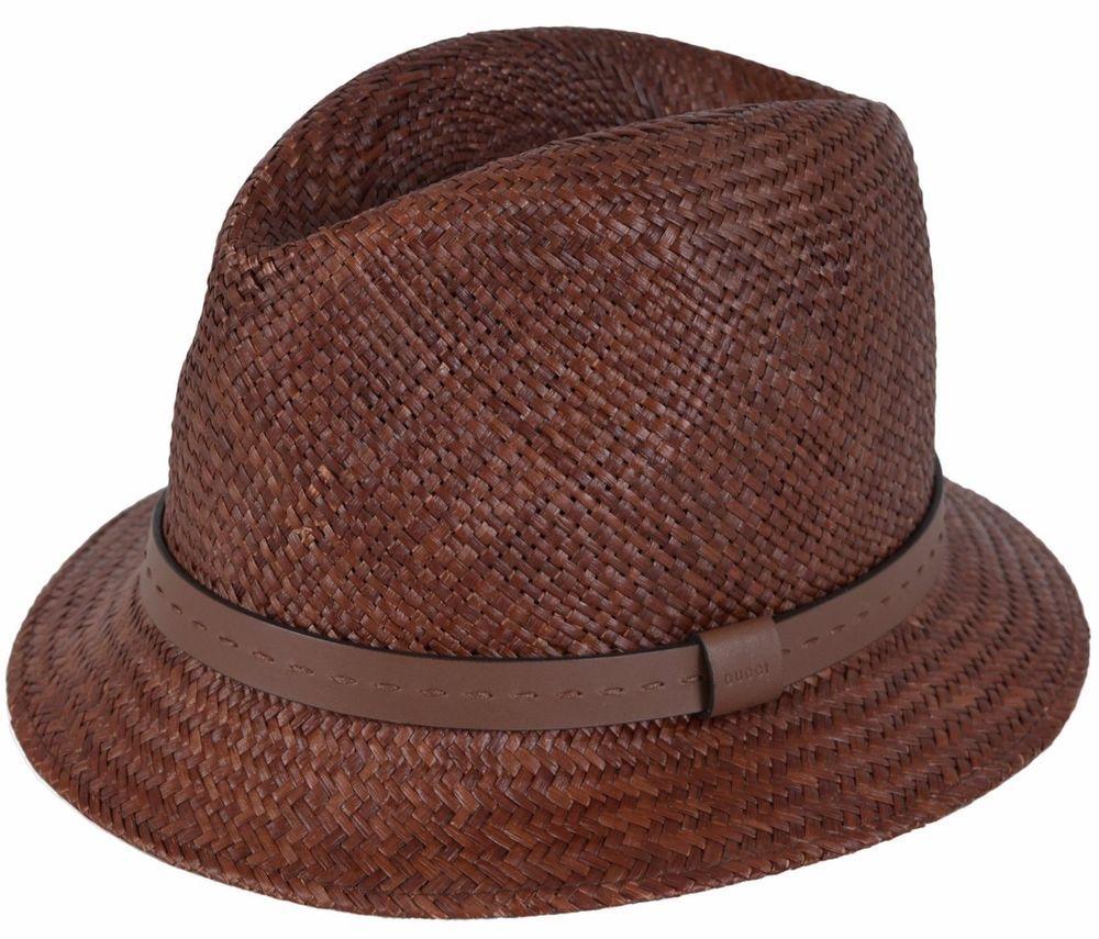 09d1f16f308 NEW Gucci Men s 368359 BROWN Straw Leather Logo Panama Fedora Hat L  Gucci   FedoraTrilby