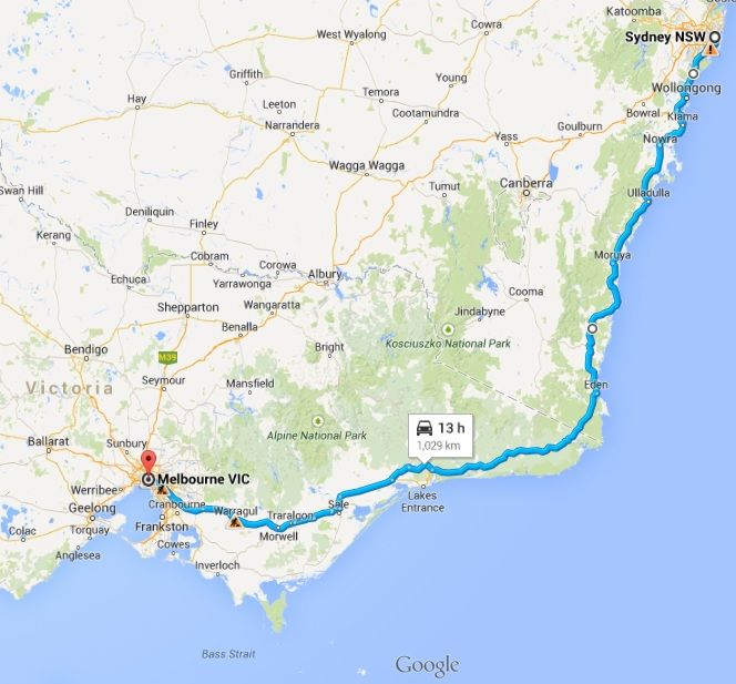 map sydney to melbourne coastal drive auto cars. Black Bedroom Furniture Sets. Home Design Ideas