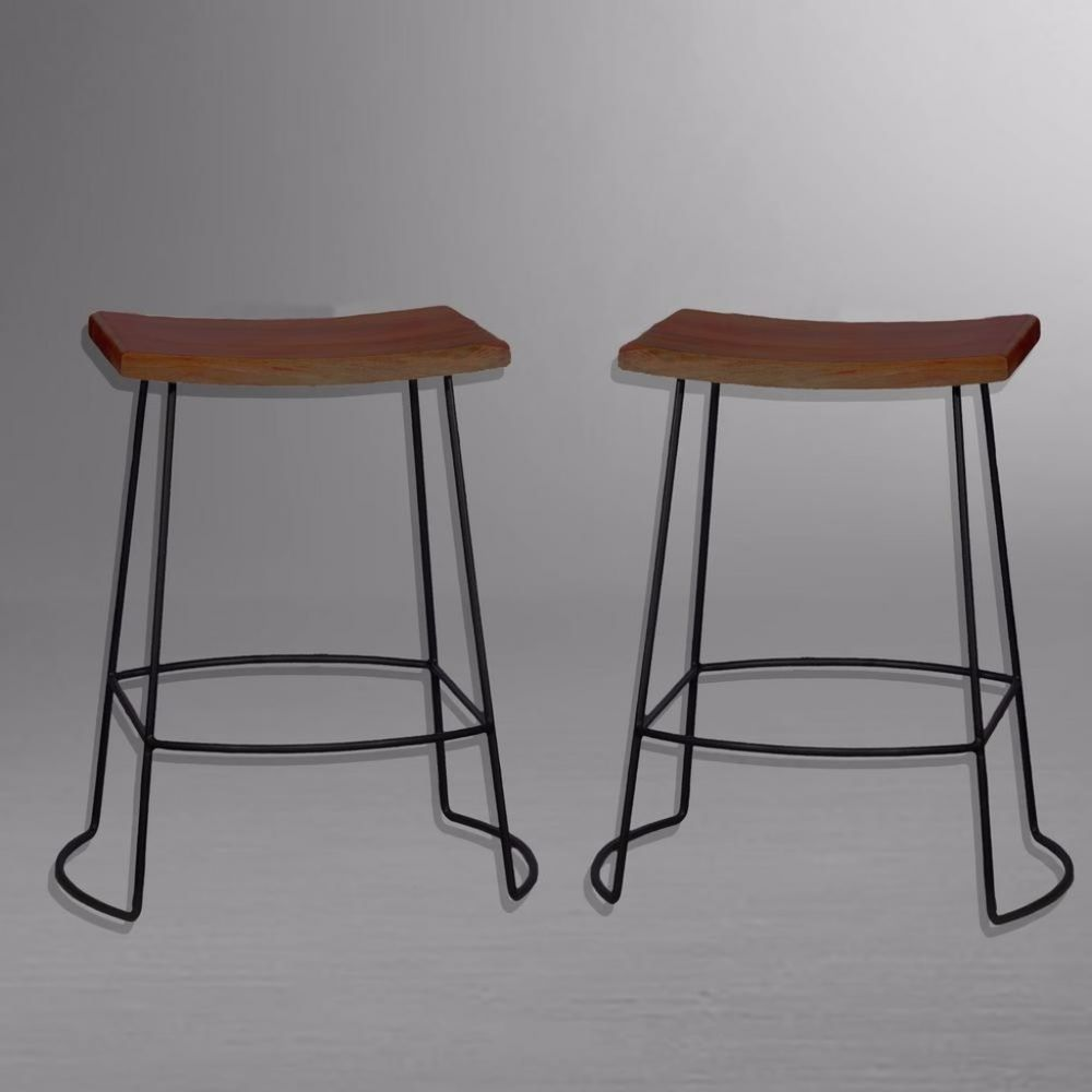 wooden seat bar stools. Black And Chestnut Comfortable Saddle Wood Seat Bar Stool 24 Inches (Set Of 2) Wooden Stools