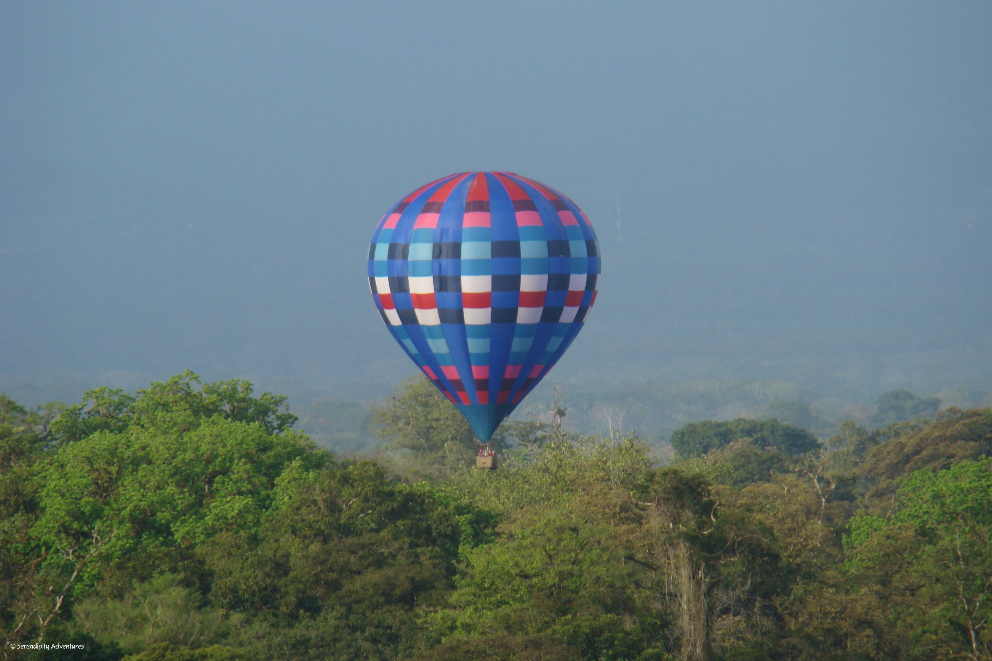 A hot air balloon flight over the rainforest of Costa Rica