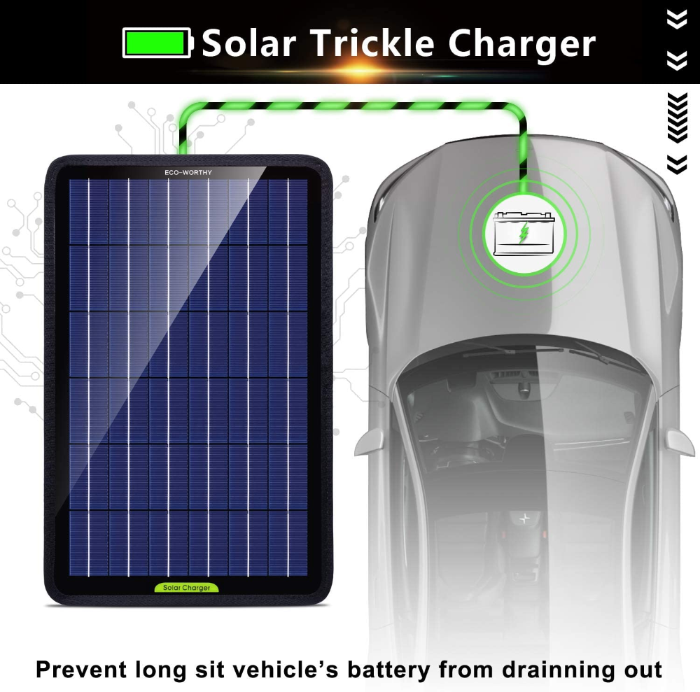 Amazon Com Eco Worthy 12 Volts 10 Watts Portable Power Solar Panel Backup Solar Trickle Charger Fo In 2020 Portable Power Solar Battery Charger Portable Solar Panels