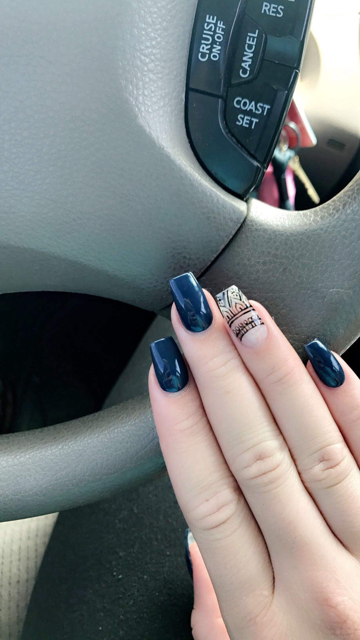 Acrylic Nails Blue Nails Nails With Design Negative Space Nails Cute