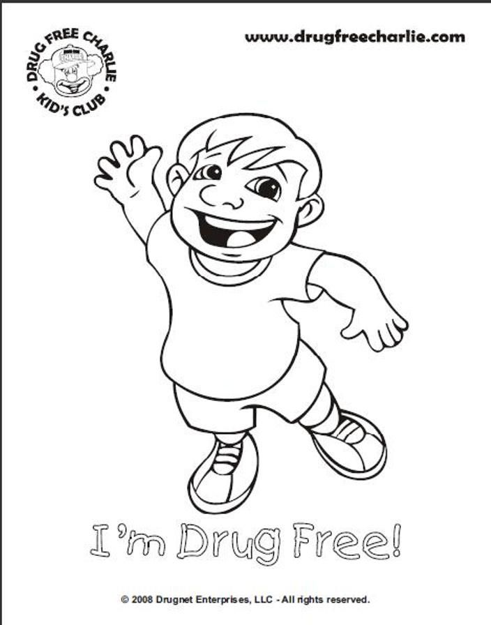 Drug Free Ribbon Coloring Pages