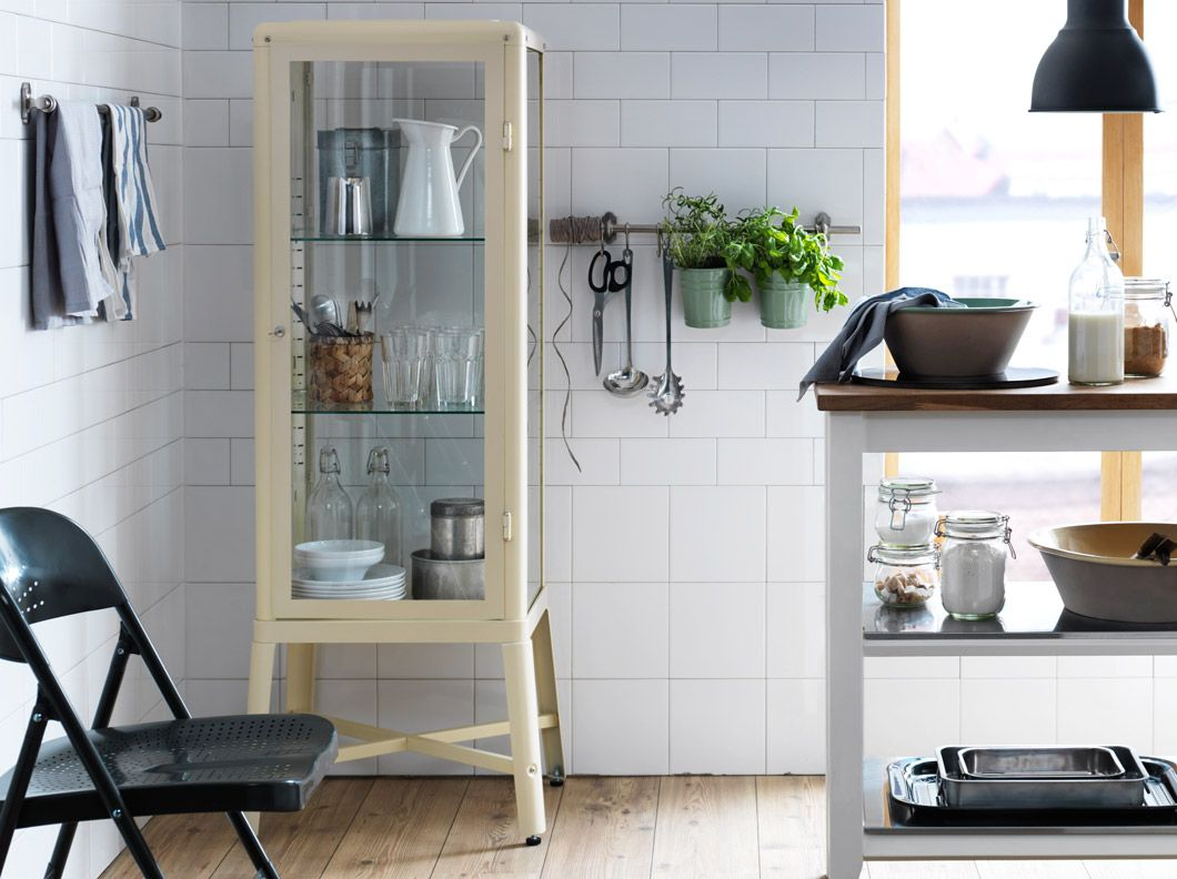 FABRIKÖR beige steel cabinet with tempered glass doors and shelves ...