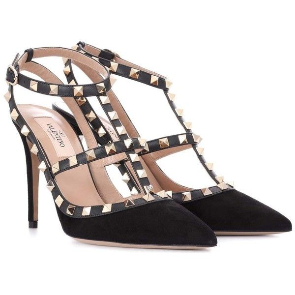 93be251e89972 Valentino Valentino Garavani Rockstud Suede Pumps ( 930) ❤ liked on  Polyvore featuring shoes