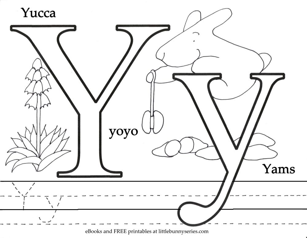 Letter Y Coloring Page PDF Preschool Letter worksheets
