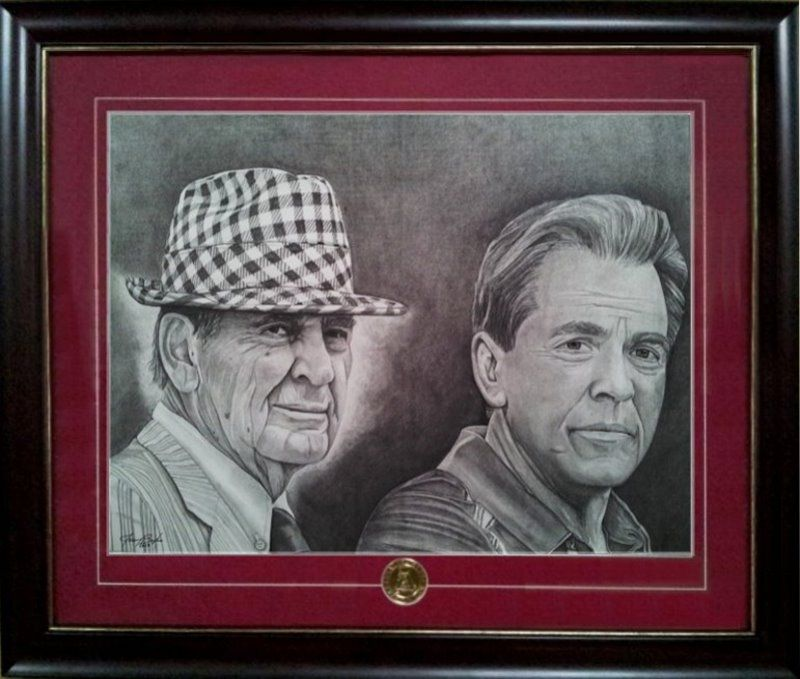 This was an pencil only drawing done of paul bear bryant and nick saban two of alabama footballs greatest coaches